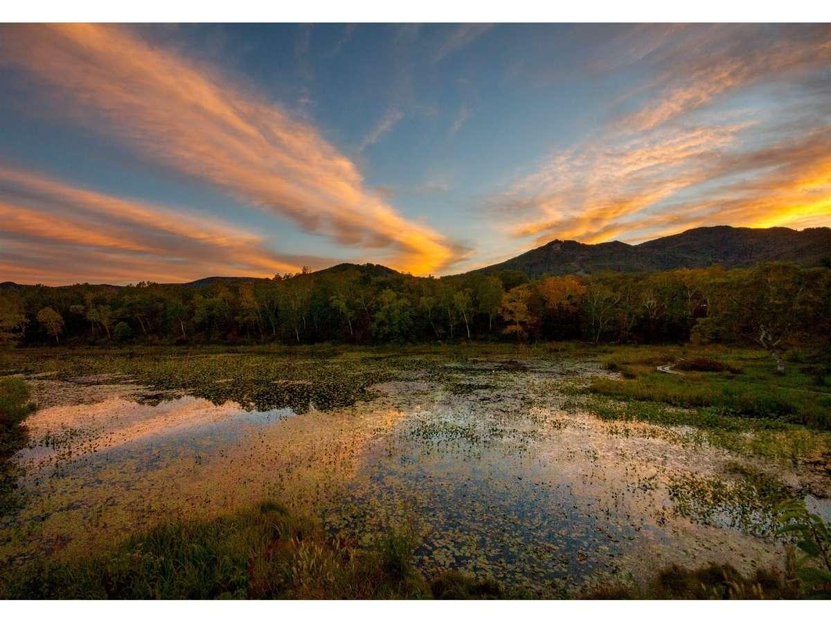 幻想的な「志賀高原蓮池の朝焼け」