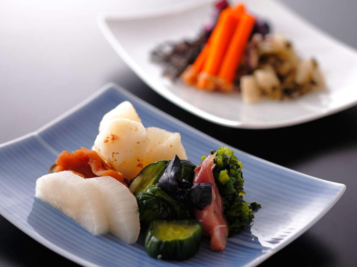 【ダイニング「清水茶寮」】打田の京漬物 様々な種類からその時期のものを少しずつ