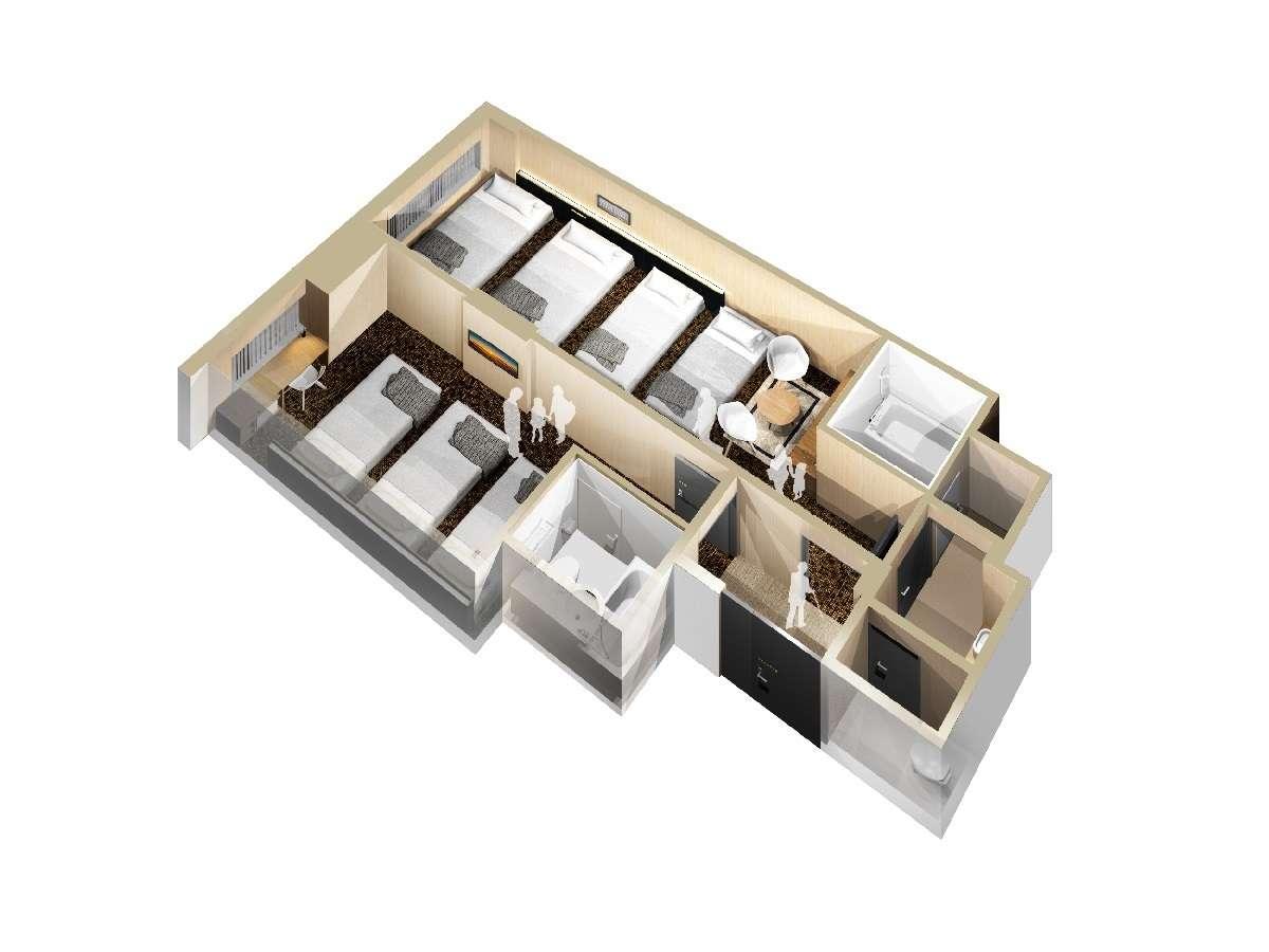 アウトサイドコネクトルーム 2部屋が外側にある扉で繋がっており、プライベートを確保します。