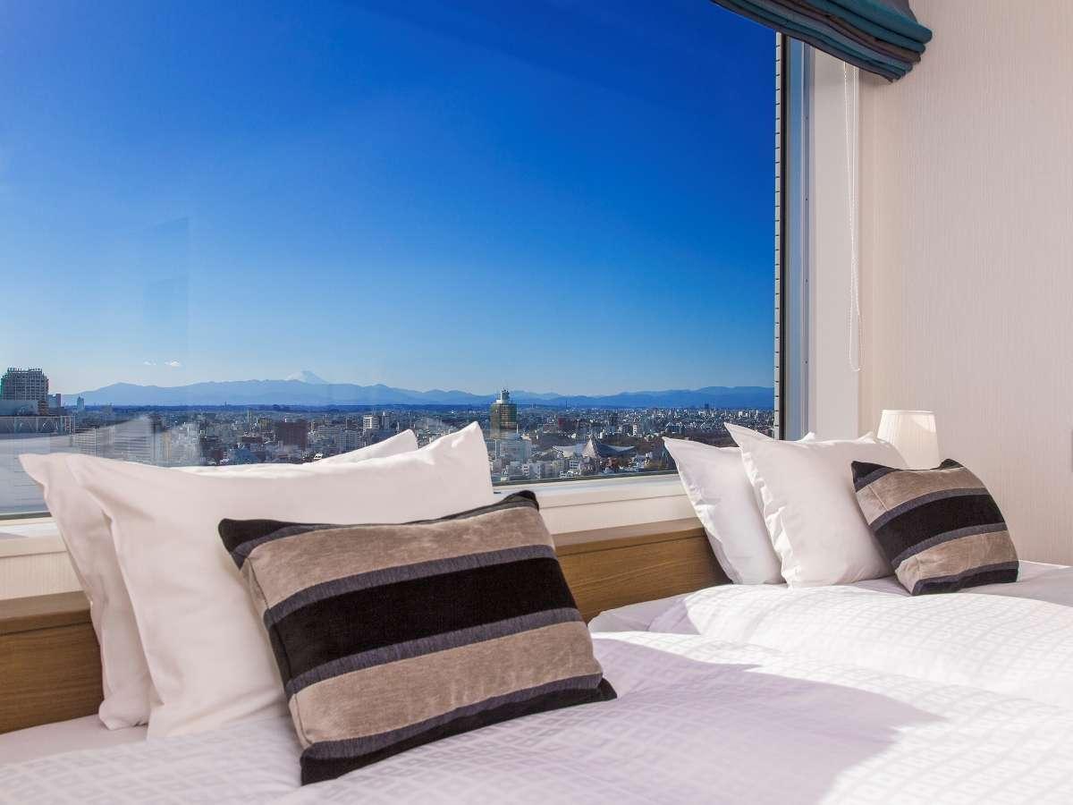 【プレミアツイン】シモンズ社製のベッドを採用。長期滞在にもおすすめ♪