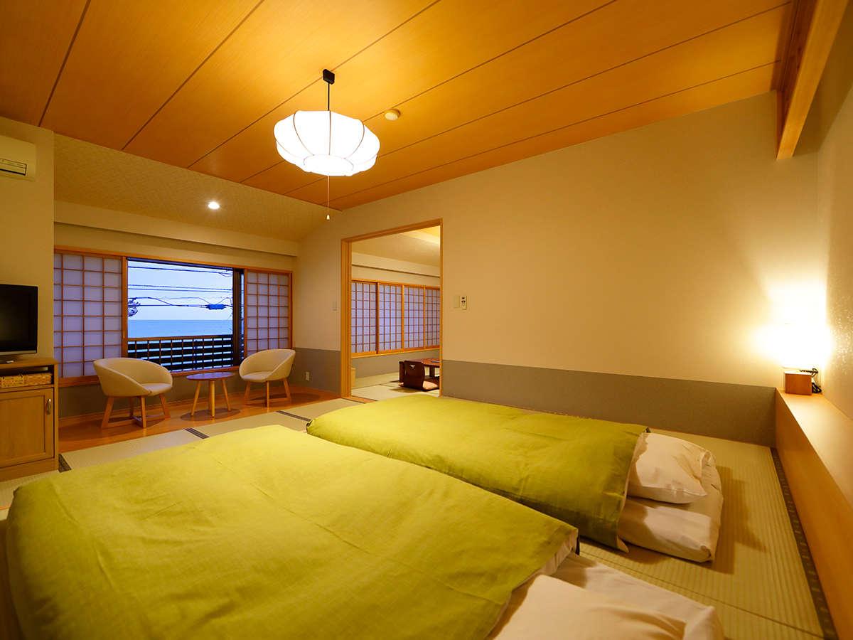 【二間客室】和8畳+和室10畳和ベッドルーム+広縁付