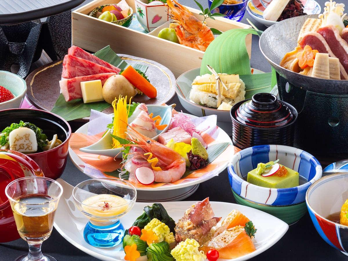 【夕食】会席料理「兼六」 ※写真は2021年4月から2021年9月までのイメージとなります。