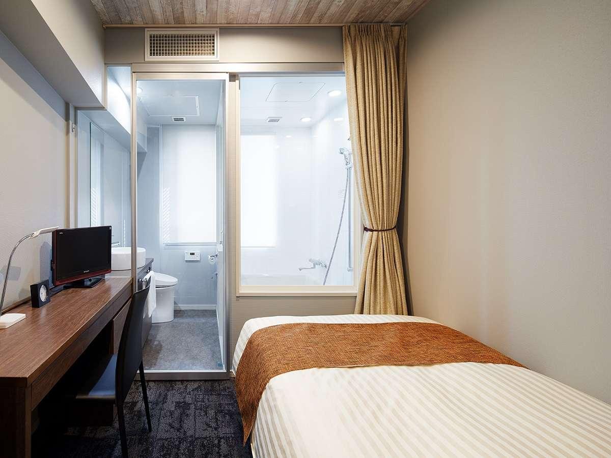 シングルルーム 11平米 120cm幅 セミダブルベッド(日本ベット製) シングルルーム_BROWN1