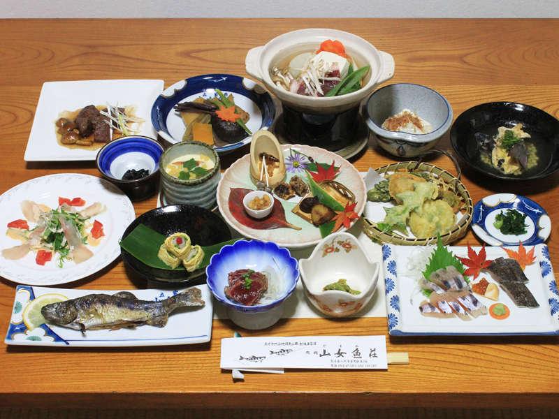 ご夕食例・家庭的なお食事でホッと一息…♪山女料理を中心としたお料理が並びます☆