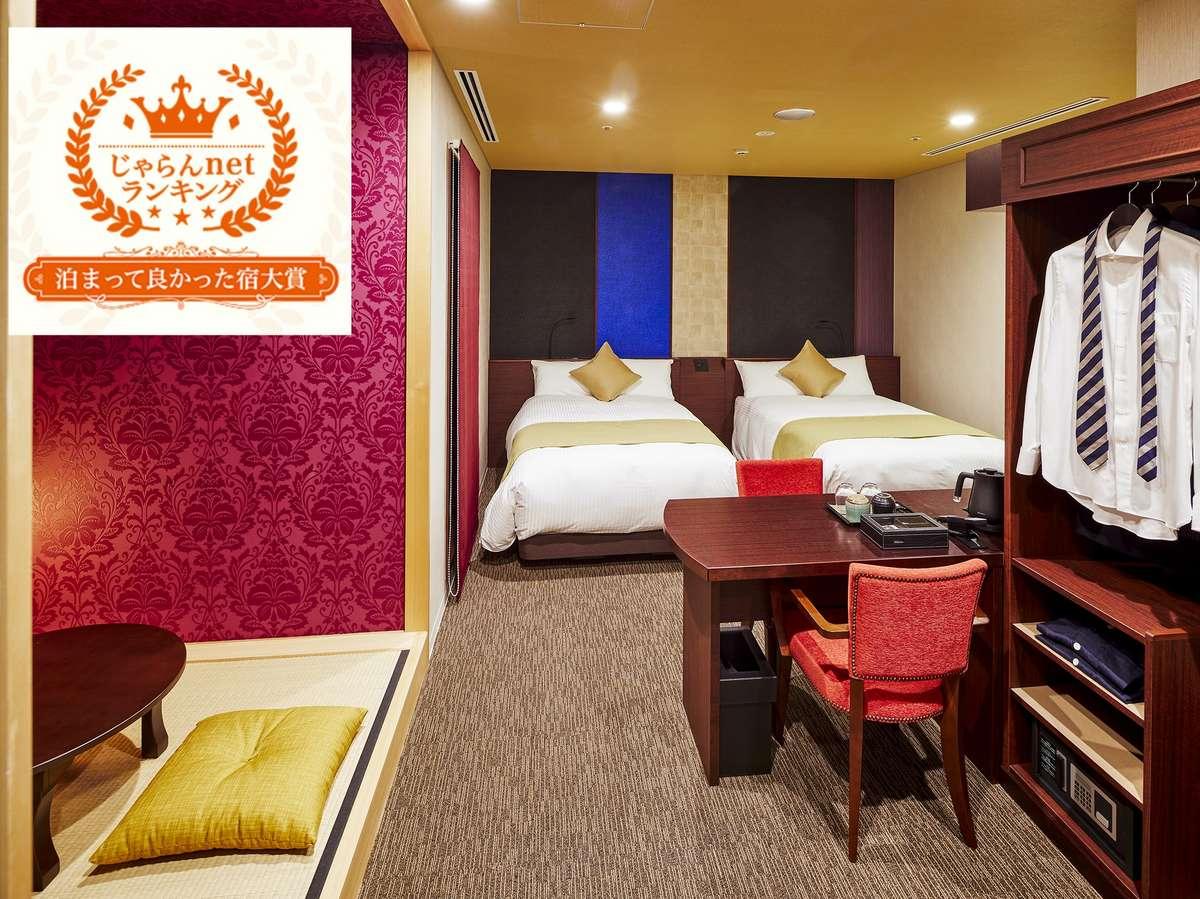 小和室を備えた4名まで宿泊できるプレミアムルーム禅ツインルーム