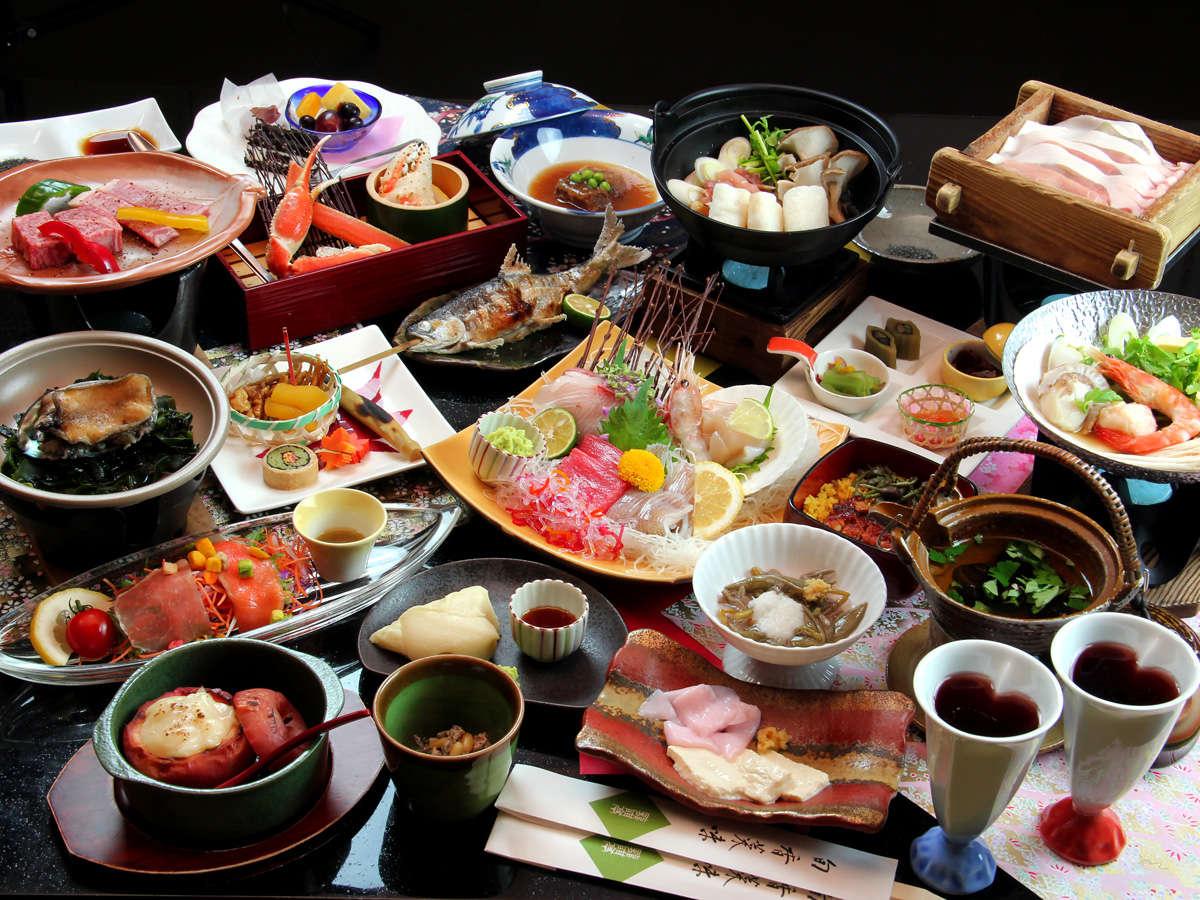 ■【夕食】愛合膳はシェアスタイル。2コース分20品を二人で分け合います(料理イメージ)