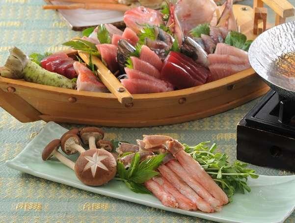 本鮪トロ・赤身&伊豆地魚船盛とズワイ蟹しゃぶしゃぶ
