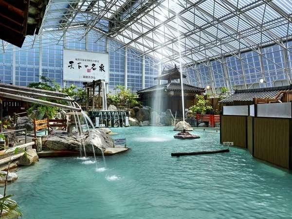 硫黄谷庭園大浴場・多数の源泉を持ち、豊富な湯量を誇る掛け流し式天然温泉