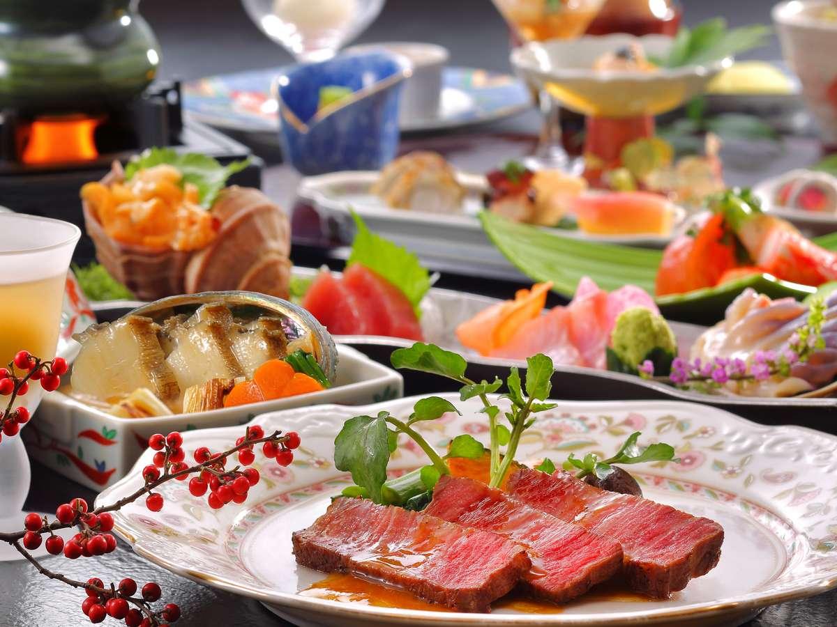 「仙台牛フィレステーキ」と「鮑の柔らか煮」がメイン料理の特選料理です