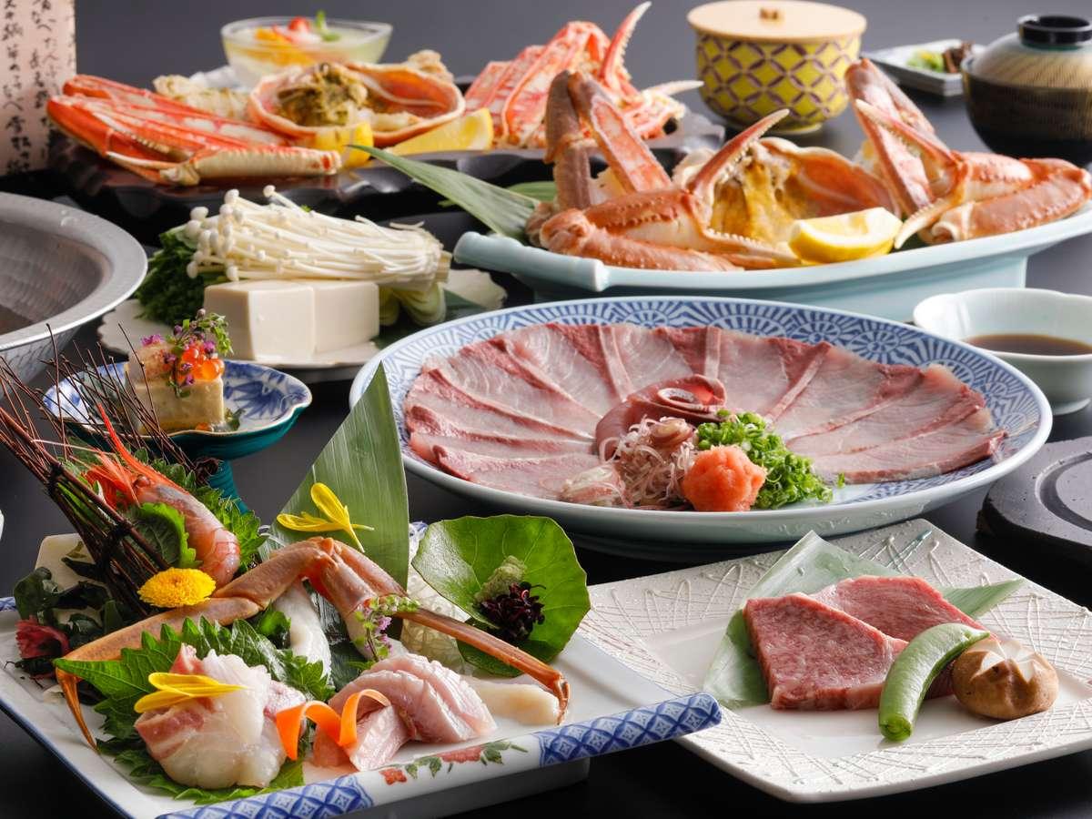 【活ガニ×ぶり×但馬牛】日本海・冬の味覚の王様「活蟹」と「ぶりしゃぶ」、「但馬牛」を堪能(一例)