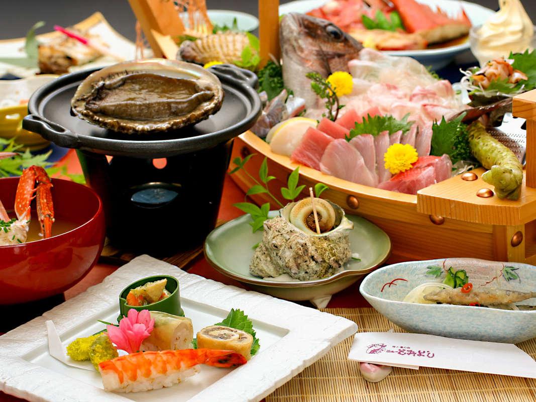 《美食》アワビさざえ三昧!踊り焼き・壺焼き・お刺身プラン(調理例)