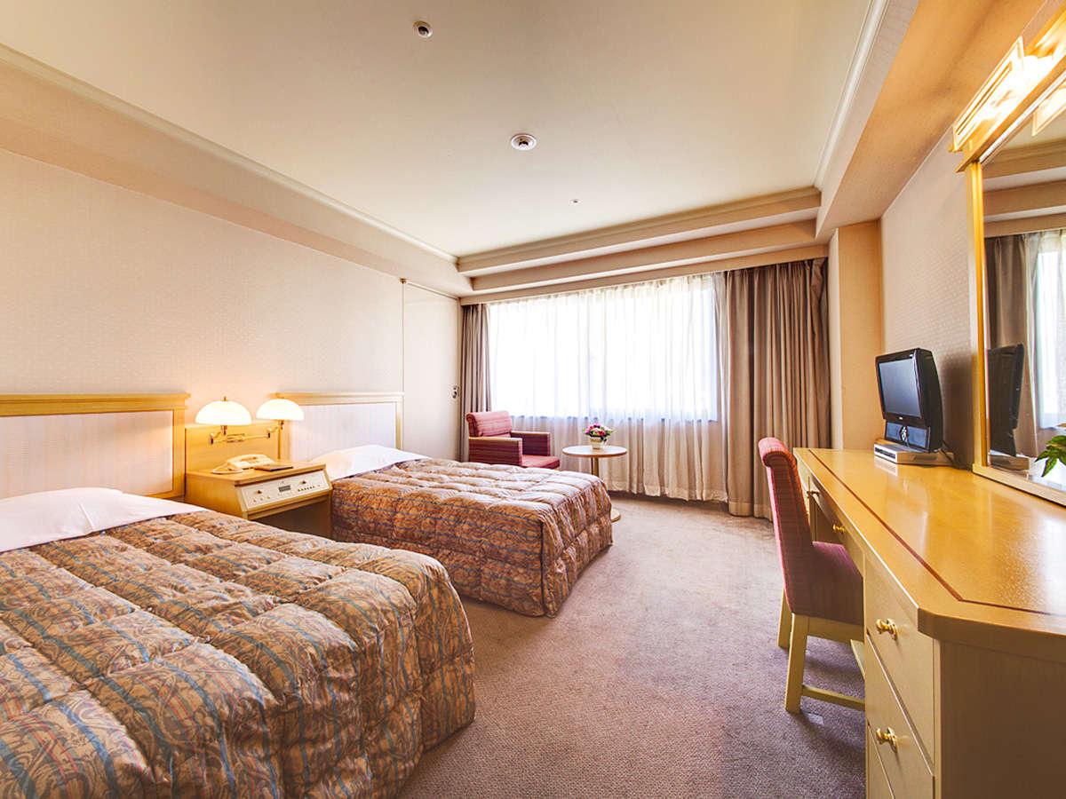 ≪ツインルーム≫約20~25平米のお部屋に、幅97cmのベッド2台