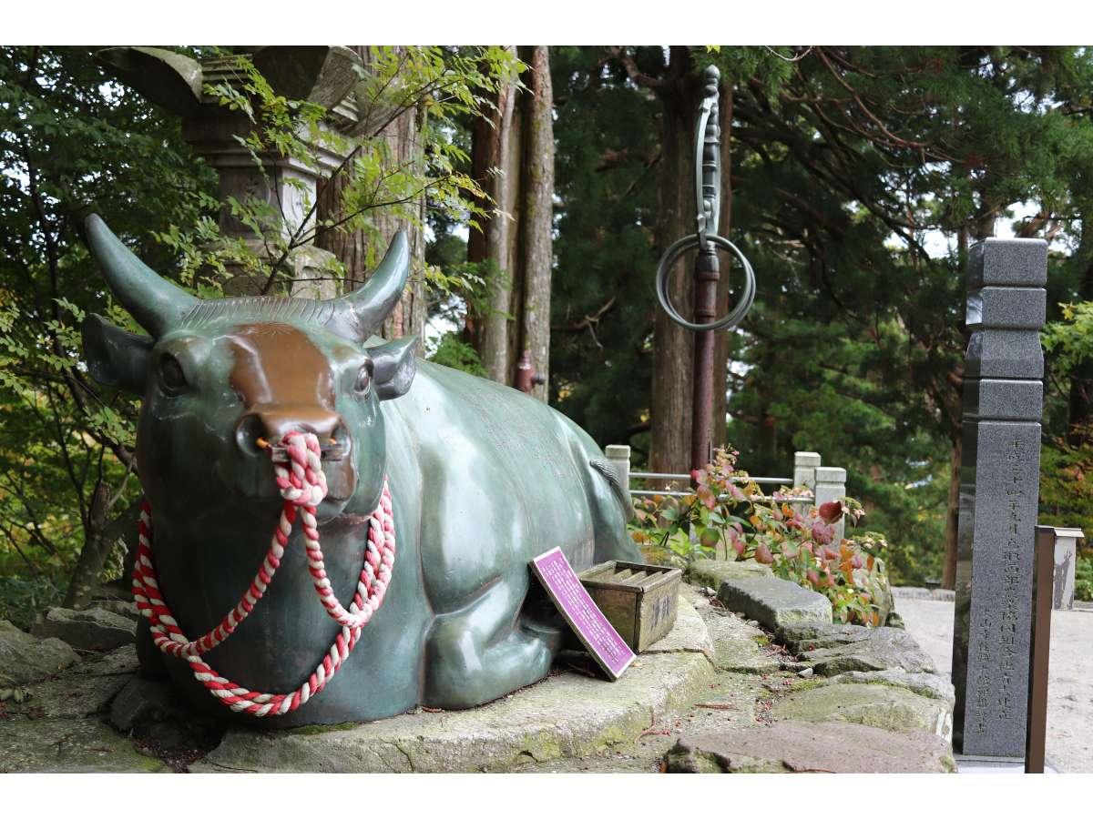 宝牛        大山寺境内にあります。皆がナデナデどこが一番ピカピカでしょうか?