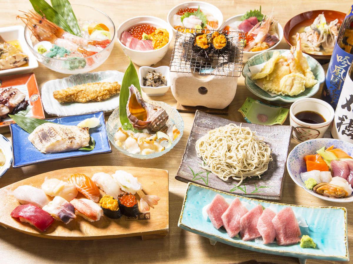 *海鮮料理イメージ画像(アワビ・ウニ・寿司・天ぷら等、全10品をご用意いたします。)