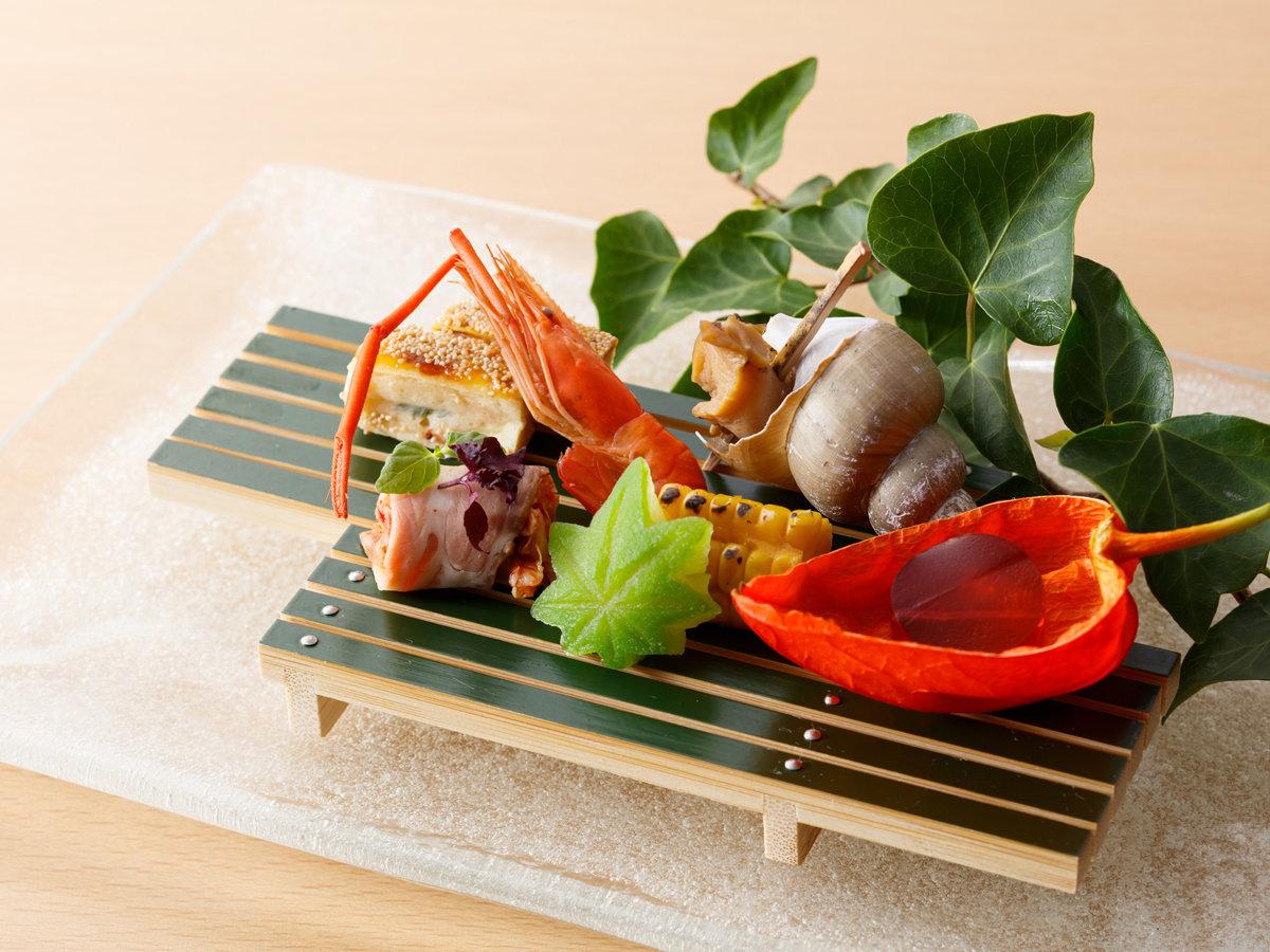 厳選旬懐石の前菜一例です(日により内容が変わる場合もございます)