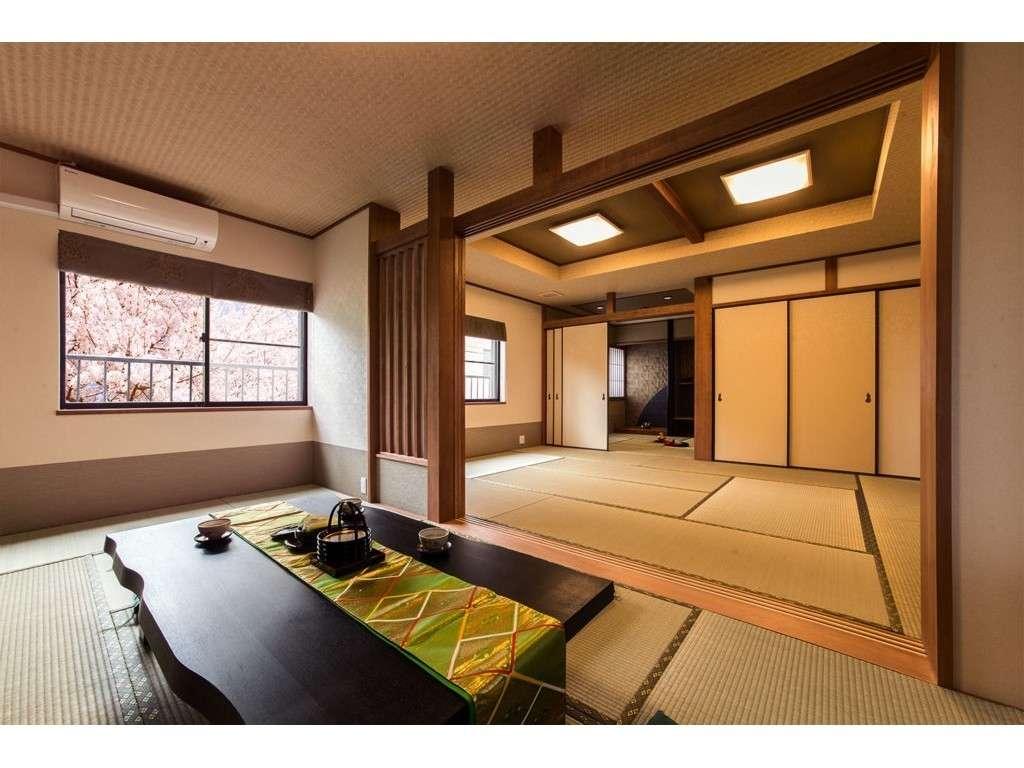 客室全体の雰囲気窓の外は公園の景色春は桜が咲き乱れる