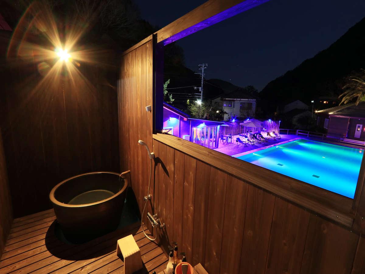 Six -シス-(No.6)◆お部屋にございます陶器露天風呂から温泉プールを眺められます