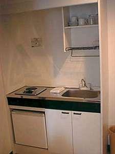 リースマンションパピヨン:各タイプ全てに、キッチン、一口電気コンロ、冷蔵庫、流し台、調理器具を準備。