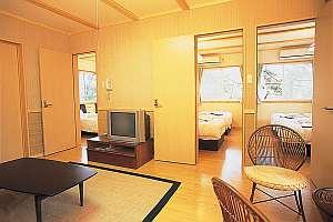 ペンション&コテージ リゾートイン湯郷:リビングとベッドルームの3間に分かれたコテージのお部屋。