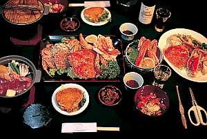 フンベHOFおおくま:オーナーおまかせプランの夕食「活ガニ」も「北勝牛」も有!