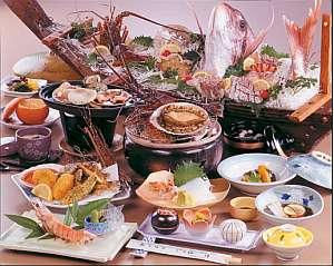 料理旅館 伝洋:食道楽コースDX伊勢エビ、鮑炭火焼