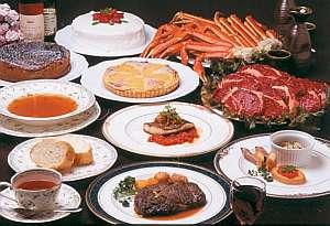 ペンション ユミィ:欧風コース料理一例。食べ飲み放題プランも好評!