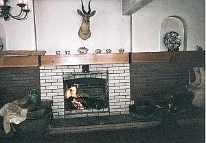 温泉イン36SO:暖炉の火が暖かい