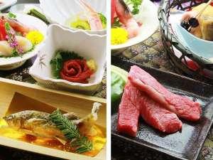 旅館小川屋:【メインをチョイス】『天然鮎の塩焼き&馬刺し』か『山形牛の陶板焼き』お好きな方を選べる♪