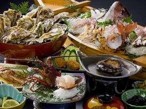 グルメプラン1【伊勢海老1匹、鮑1匹】舟盛、会席焼き牡蠣大皿盛り