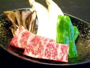 湯宿温泉 太陽館 檜香る貸切露天風呂:上州牛のステーキ♪
