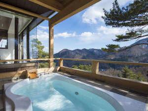 ホテルアンビエント安曇野コテージ:【温泉露天風呂付コテージ浴室】絶景を望みながら贅沢なひとときを・・・※専用コテージのみとなります