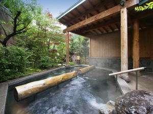 つなぎ温泉 愛真館:「どんど晴れ」の撮影にも使用された、縄文露天風呂「夢枕の湯」