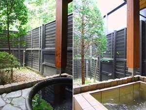 本館:客室露天風呂は丸い陶器のお風呂と石風呂があります。選択は、当館にお任せ下さい。