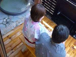 恋する二人の露天風呂付お部屋でフルコースの宿 アクアスイート:お部屋の露天風呂でまったりとリラックス~☆