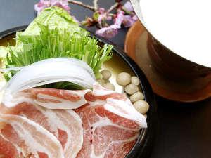霧島温泉 純和風旅館 牧水荘:【夕食一例】鹿児島の黒豚を使った豆乳しゃぶしゃぶ