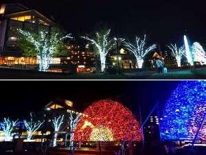 双泉の宿 朱白(すはく):冬の諏訪湖畔☆イルミネーション(湖畔より撮影:2017年11月) 搭屋あたりも灯ってる建物が当館です♪