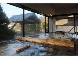 男鹿温泉 結いの宿 別邸 つばき:男鹿温泉で唯一、2本の源泉掛け流し温泉。内風呂「石山の湯」と露天風呂「鹿の湯」でごゆっくりとどうぞ。