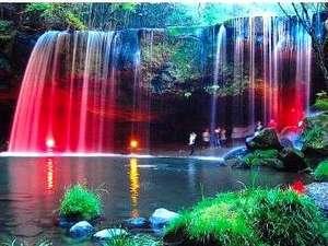杖立温泉 旅館 日田屋(熊本県阿蘇郡):鍋ヶ滝のライトUP~^^