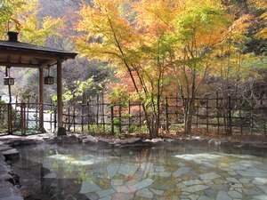 自家源泉の宿 原瀧:【露天風呂:秋】男性用露天風呂