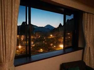 小田急山のホテル:大庭園と芦ノ湖、その向こうに悠然と佇む富士山を一望できます。