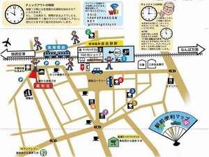ビジネス旅館 美松荘:チェックインのときにお渡しする便利周辺絵地図です