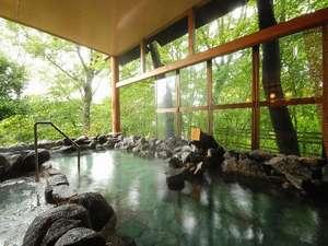 ホテル奥久慈館:金山露天風呂-満天の湯(露天風呂)美人肌を生成するアルカリ性、掛け流し温泉