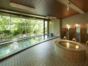 緑に囲まれた大浴場。お肌にやさしい肌触りの天然温水です。