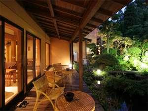 手造り出来たて料理を朝夕個室で楽しむ宿 湯田川温泉九兵衛旅館:お風呂上りにテラスで夕涼み