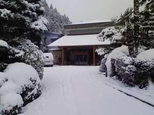 囲炉裏の宿 豊楽:年に約15回の大雪の様子です。10cmほど積もります。