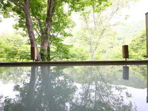 志賀高原 白い温泉 渓谷の湯の写真