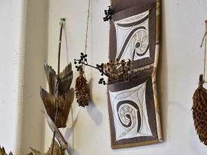 温泉民宿 酋長の家:館内にはアイヌ民族の装飾が沢山あります。
