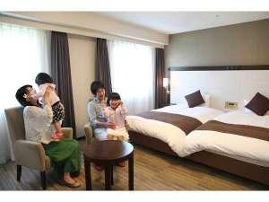 ダイワロイネットホテル大分:広々ツインは小学生以下のお子様2名様まで添寝無料!
