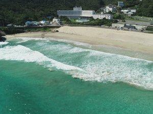 ホテル伊豆急:白浜海岸上空からのホテル伊豆急