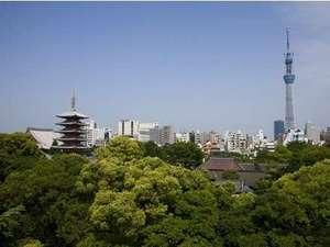 一部客室からのスカイツリー(R)と浅草寺五重塔